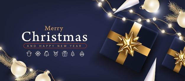 Frohe weihnachten banner vorlage mit festlicher dekoration für weihnachten