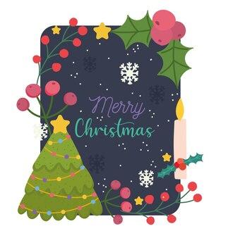Frohe weihnachten, baumstechpalmenbeerenblumen und kerzenkarte für grußvektorillustration