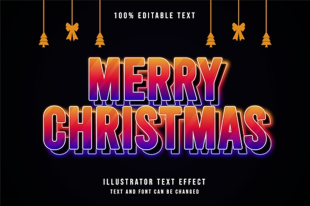 Frohe weihnachten bearbeitbaren texteffekt gelben abstufungsstil