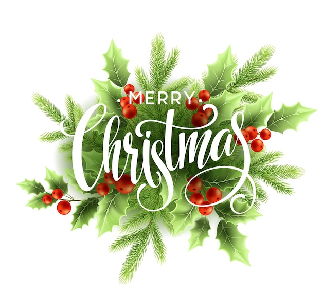 Frohe weihnachten-beschriftung mit stechpalmenbeere. vektorillustration eps10