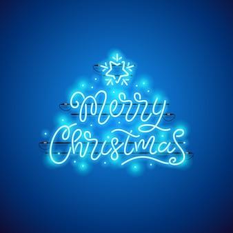 Frohe weihnachten blaue leuchtreklame