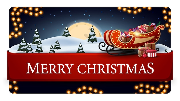 Frohe weihnachten, blaue postkarte mit schöner winterlandschaft, großer vollmond, girlande, rotes horizontales band mit angebot und sankt-pferdeschlitten mit geschenken