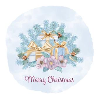 Frohe weihnachten blumenstrauß mit tannenzweigen und geschenkboxen