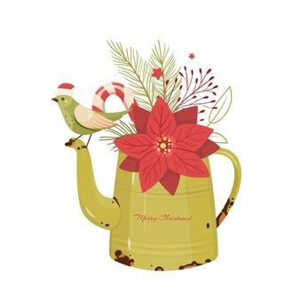 Frohe weihnachten blumenstrauß und vogel. karikatur gestaltete illustration.