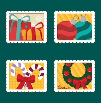 Frohe weihnachten briefmarken set, geschenkboxen, bälle, zuckerstange und kranz illustration