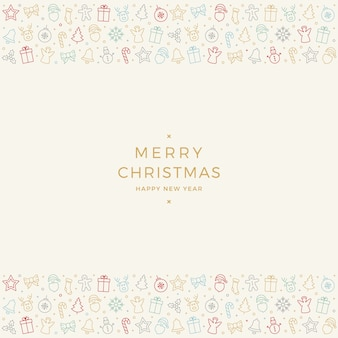 Frohe weihnachten bunte icon-elemente