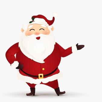 Frohe weihnachten. cartoon niedlich, lustiger weihnachtsmann mit einer willkommenen geste. auf weißem hintergrund isoliert.