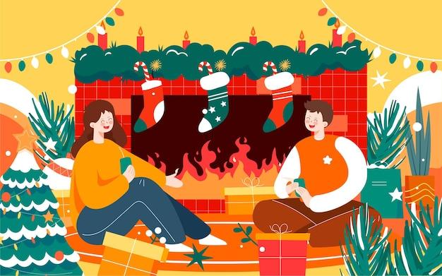 Frohe weihnachten charakter illustration heiligabend geschmückter weihnachtsbaum poster
