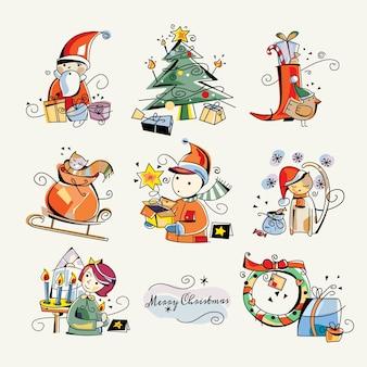 Frohe weihnachten clip art sticker illustrationen