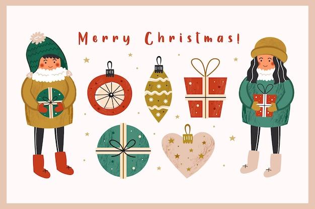 Frohe weihnachten clipart satz von elementen.