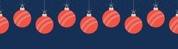 Frohe weihnachten cricket nahtloses horizontales muster.