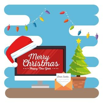 Frohe weihnachten dekorierte arbeitsplatz büro