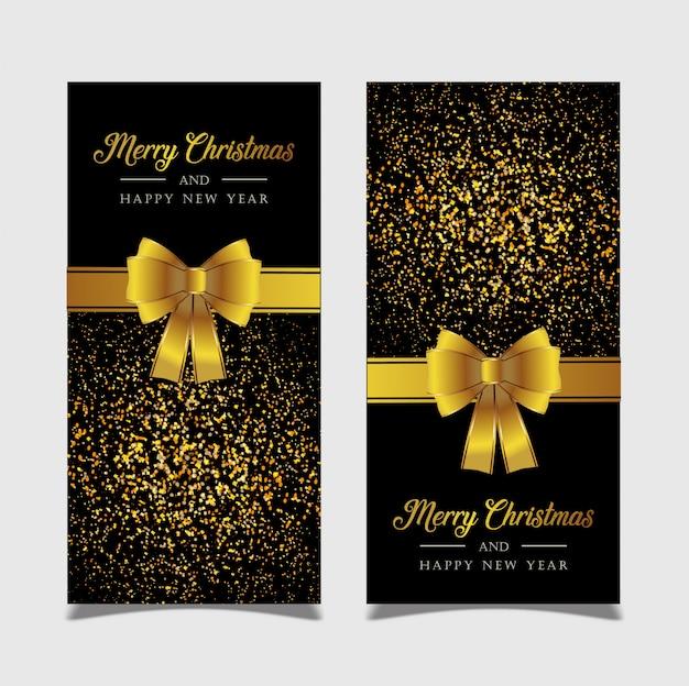 Frohe weihnachten der fahne mit goldenem hintergrund
