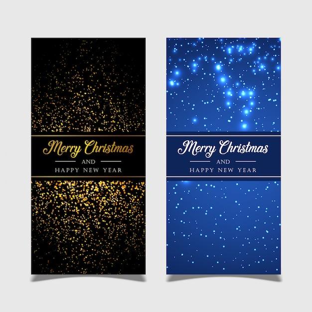Frohe weihnachten der fahne mit goldenem und schwarzem hintergrund