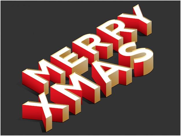 Frohe weihnachten der isometrischen vektorillustration typografisch