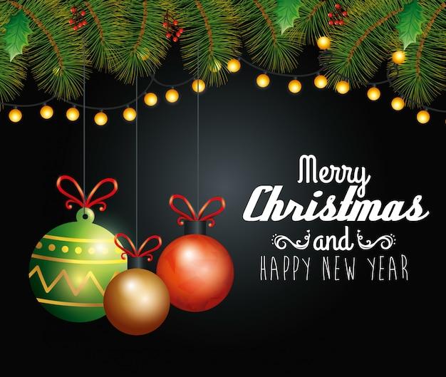 Frohe weihnachten der karte mit den hängenden bällen und kränzen