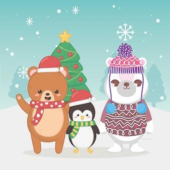 Frohe weihnachten der niedlichen eisbär-teddybär- und pinguinbaumschneeflocken