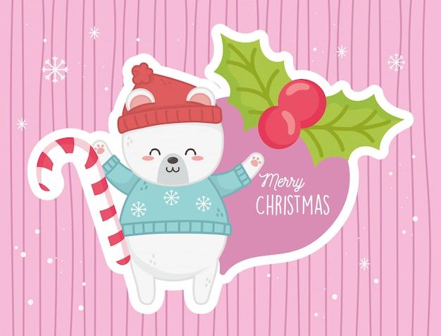 Frohe weihnachten der niedlichen eisbärzuckerstange-stechpalmenbeere