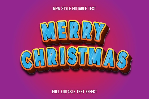 Frohe weihnachten des texteffekts auf blauem und braunem farbverlauf