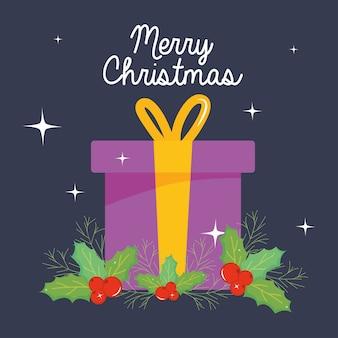Frohe weihnachten design mit geschenkbox und misteln über dunklem hintergrund, bunte design