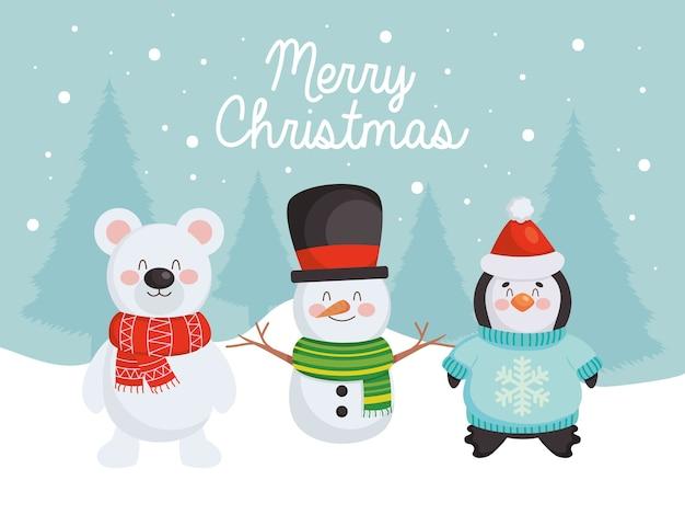 Frohe weihnachten design mit niedlichen schneemann, bär und pinguin über blauem hintergrund.