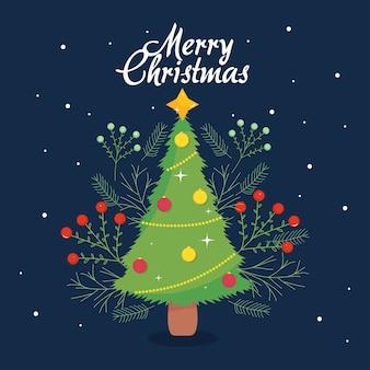 Frohe weihnachten design mit niedlichen weihnachtsbaum und dekorativen zweigen über hintergrund