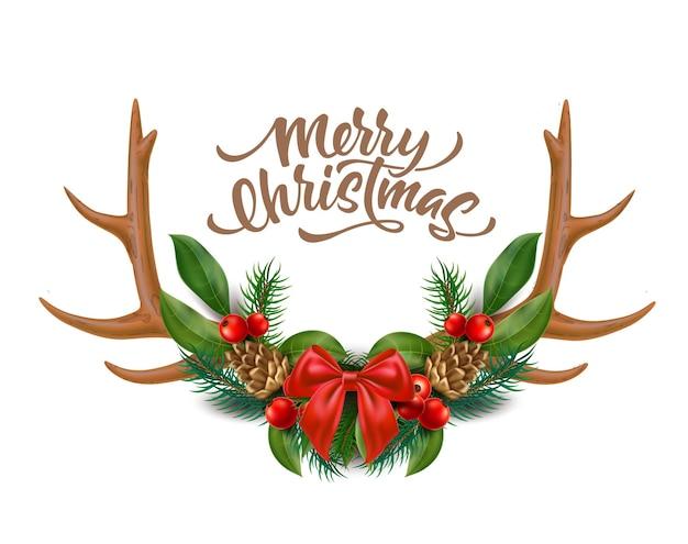 Frohe weihnachten design rentierhörner mit bogen stechpalme blätter beeren fichte zweige tannenzapfen