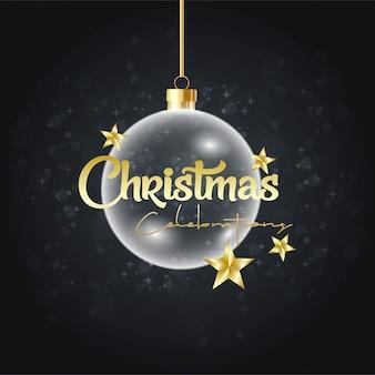 Frohe weihnachten, die ball-goldene sternkarte hängt