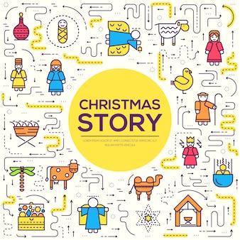 Frohe weihnachten dünne linie symbole setzen hintergrund. umriss der geburt christi illustration hintergrund