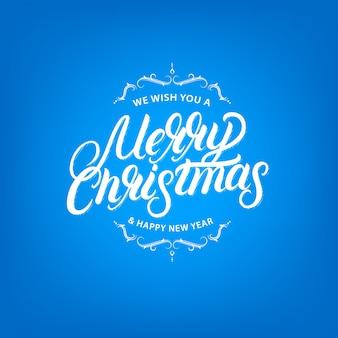 Frohe weihnachten elegante handgeschriebene schriftzug design. vintage retro-stil.