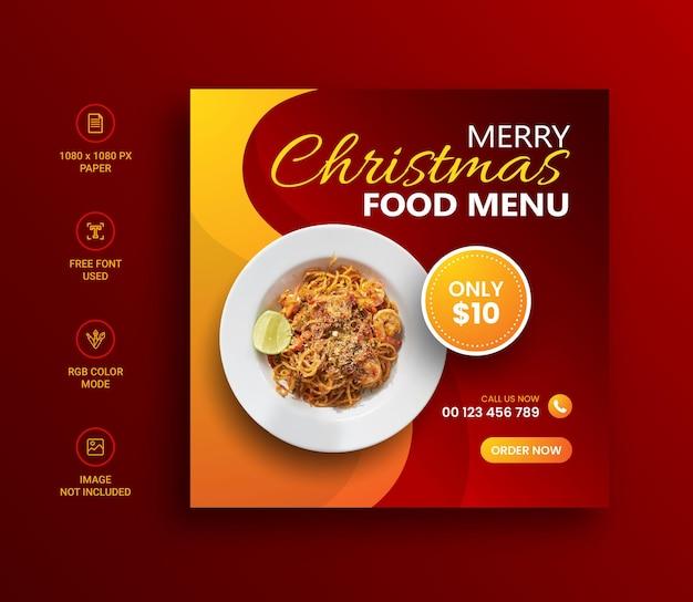 Frohe weihnachten essen menü social media instagram post banner design-vorlage