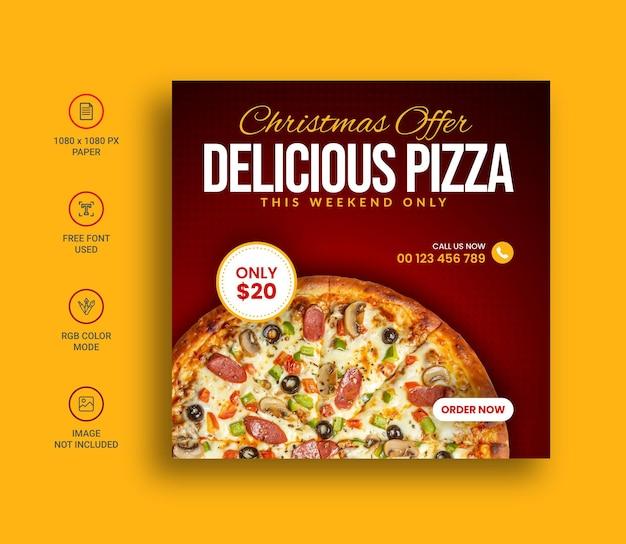 Frohe weihnachten essen pizza social media instagram post banner design-vorlage