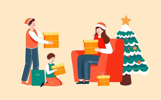 Frohe weihnachten familie illustration weihnachtsabend dekoration weihnachtsbaum poster