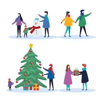 Frohe weihnachten familie mit kieferngeschenken und schneemannszene eingestellt