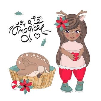 Frohe weihnachten farbe vector illustration set neujahr hirsch