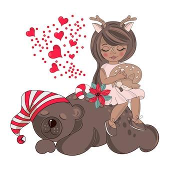 Frohe weihnachten farbe vektor illustration set