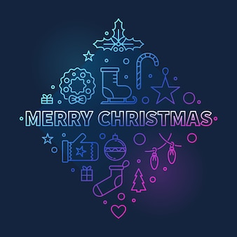Frohe weihnachten farbige lineare konzeptillustration
