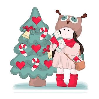 Frohe weihnachten-farbvektor-illustrationssatz-geschenke für mädchen