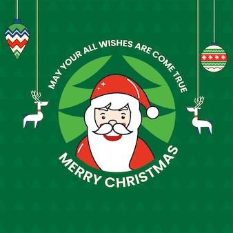 Frohe weihnachten-feier-grußkarte mit weihnachtsmann-charakter, rentiere und kugeln hängen auf grünem hintergrund.