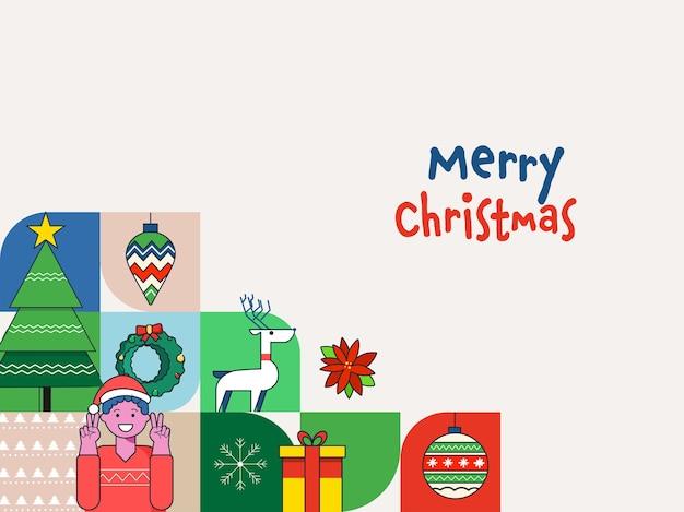 Frohe weihnachten-feier-hintergrund mit festival-elementen und fröhlicher junge, der friedenssymbol zeigt.
