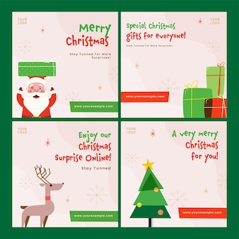 Frohe weihnachten-feier-post oder template-design in vier optionen.