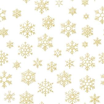 Frohe weihnachten feiertagsdekorationseffekt. nahtloses muster der goldenen schneeflocke.