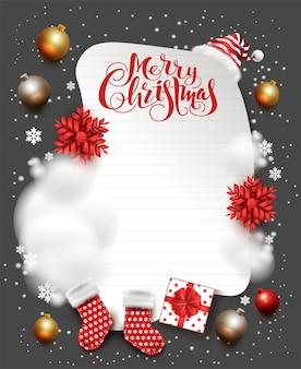 Frohe weihnachten feiertagsgrußkarte. text