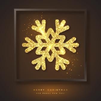Frohe weihnachten feiertagshintergrund mit goldener schneeflocke und rahmen. glitzerndes leuchtendes design, schwarzer hintergrund.