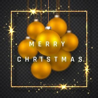 Frohe weihnachten feiertagshintergrund mit realistischen goldenen weihnachtskugeln.