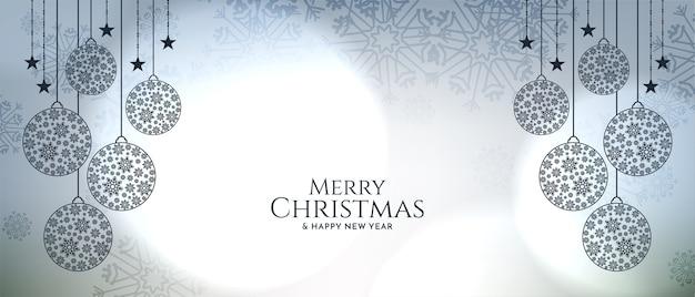 Frohe weihnachten festival bokeh stil elegante banner vektor