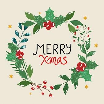 Frohe weihnachten flyer mit krone blätter dekorativ