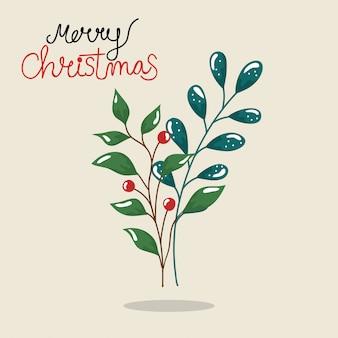 Frohe weihnachten flyer mit zweigen und blättern