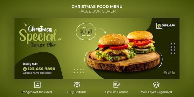 Frohe weihnachten food menu facebook cover banner Premium Vektoren