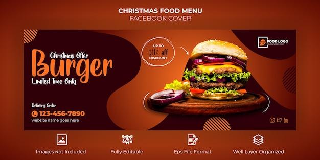 Frohe weihnachten food menu facebook cover banner